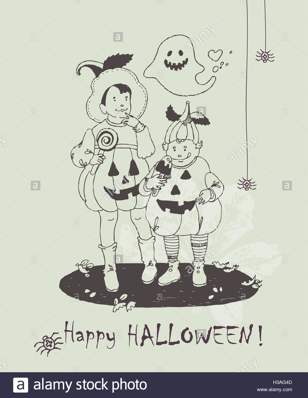1074x1390 Halloween Greeting Card. Hand Drawn Halloween Poster With Cute