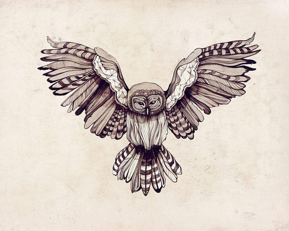 960x768 Geometric Owl Tattoo So You Look Scary