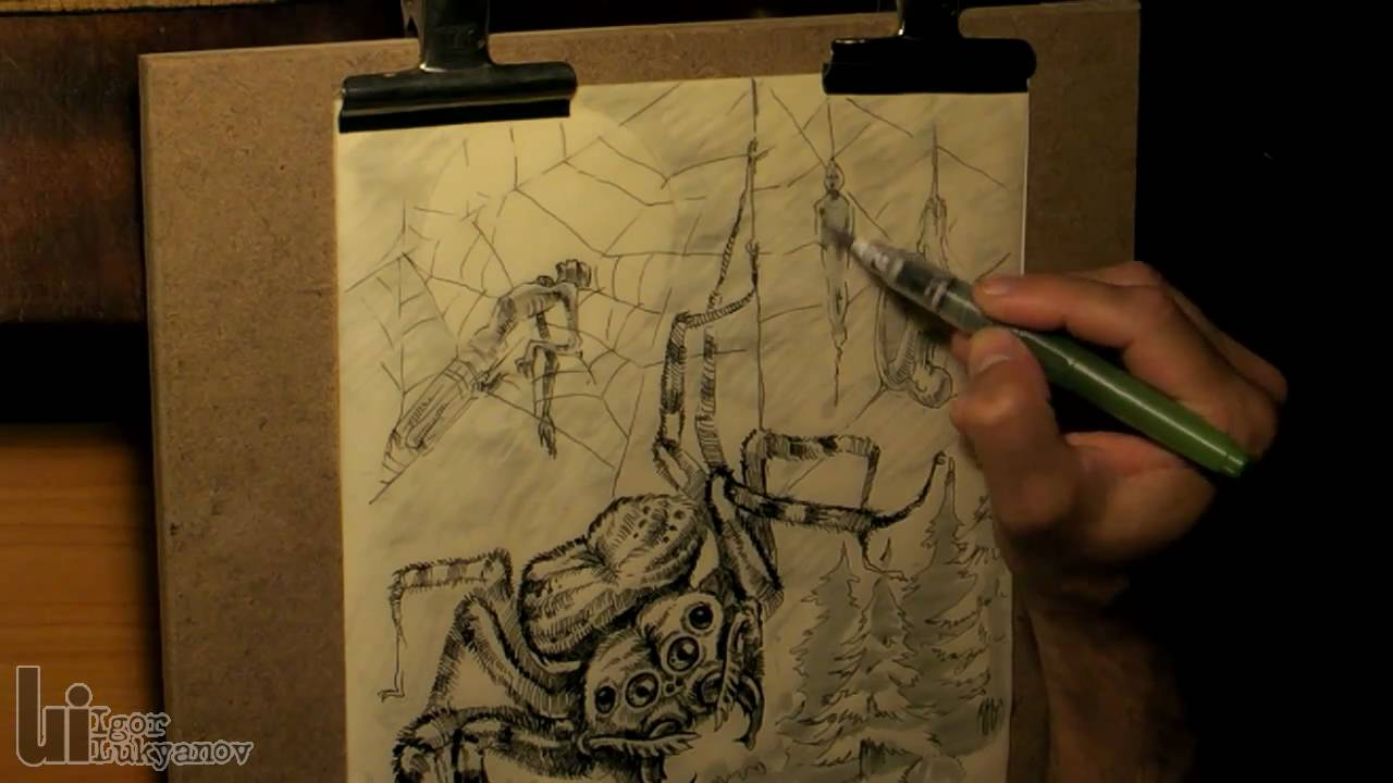 1280x720 Drawing A Big Scary Spider (Fantasy Art)