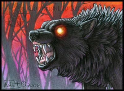 400x295 Night Wolf Aceo By Katiehofgard