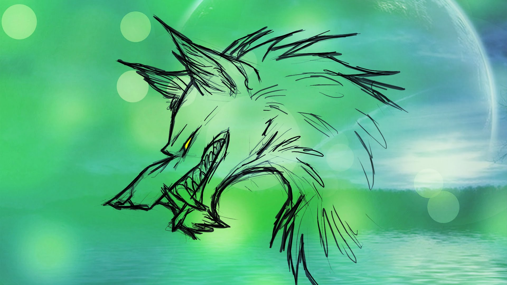 1920x1080 Wolf Among Us (Draw Famous Running Wolf With Whiteboard Magic
