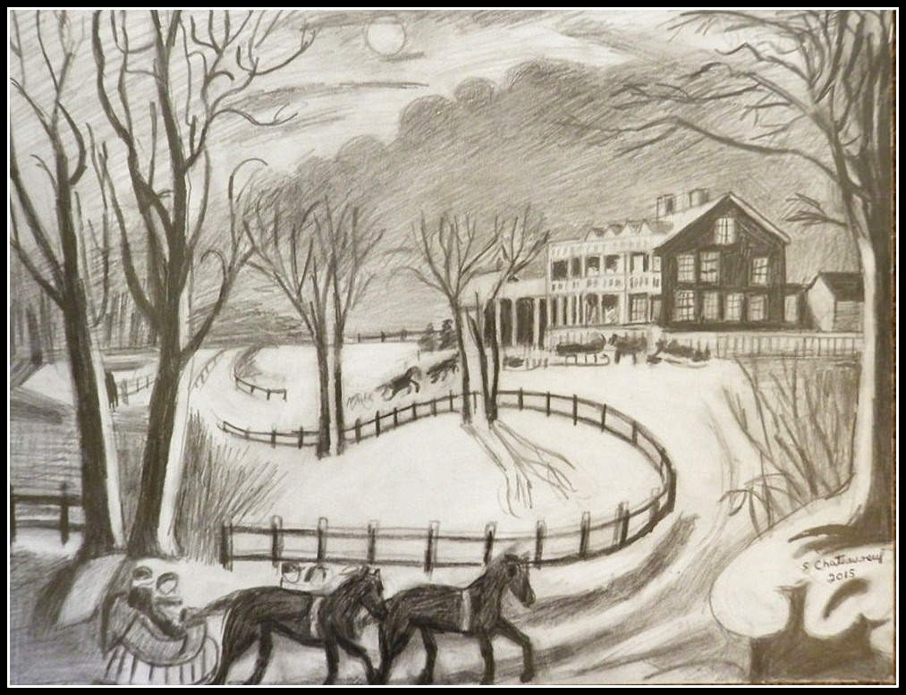 1013x777 Black Amp White Pencil Drawing Of Currier Amp Ives Winter
