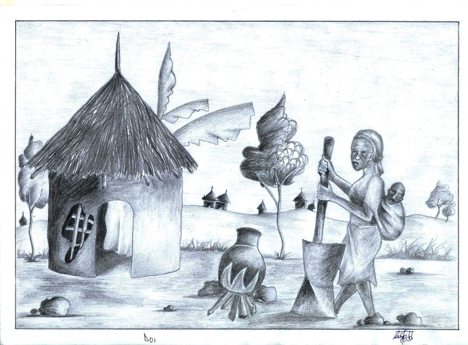 1600x1181 Indian Village Drawing Sketch For Kids Simple Indian Village Scene