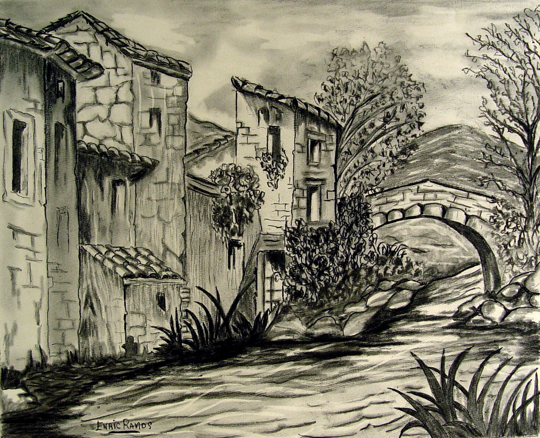 1448x1176 Spanish Street Scene Drawing Omero Home