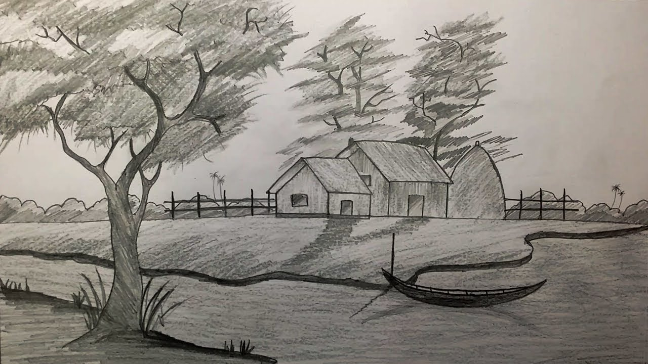 1280x720 Village Scene Sketch How To Draw Village Scenery With Shadow