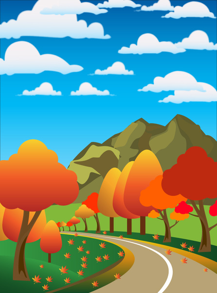 446x600 Autumn Scenery Drawing Illustration With Cartoon Style Free Vector