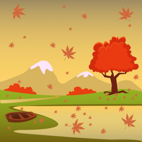 468x468 Autumn Scenery Vector Illustration With Cartoon Style Vectors