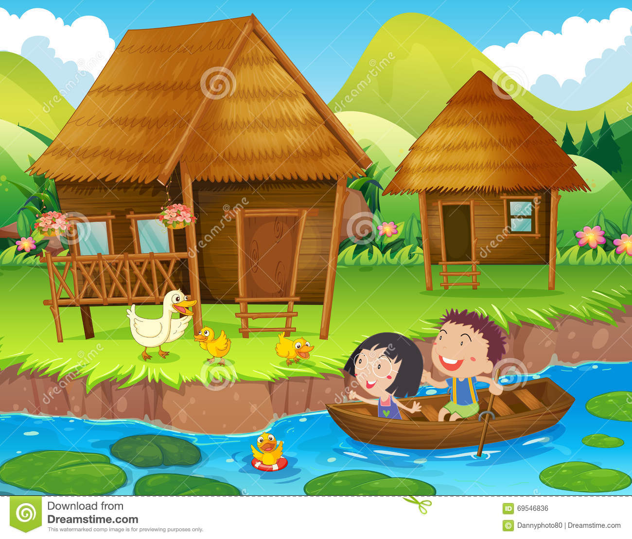 1300x1110 Cartoon Scenery For Kids Summer Scenery Kids Drawing Stock