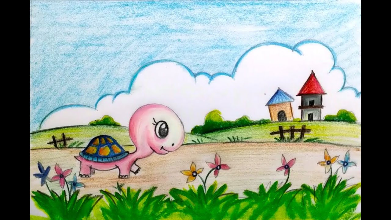 1280x720 How To Draw A Cartoon Scenery With Turtle