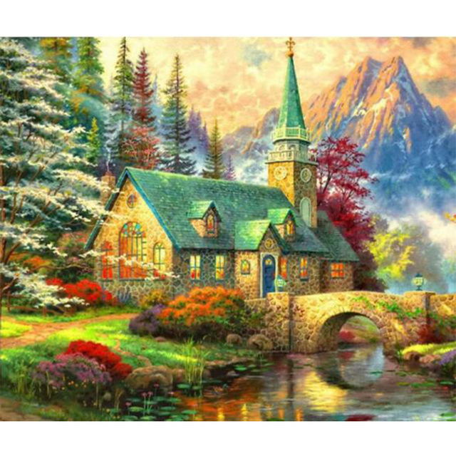 640x640 Diy Diamond Drawing Embroidery Decoration Painting Scenery Diamond