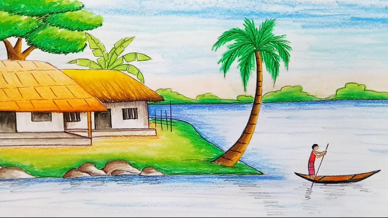 1280x720 How to draw village scenery with oil pastel step by step