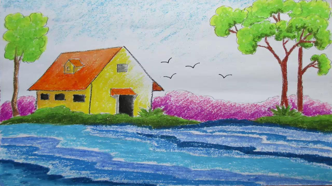 1280x720 Pastel Drawing How To Draw A Scenery Episode 7
