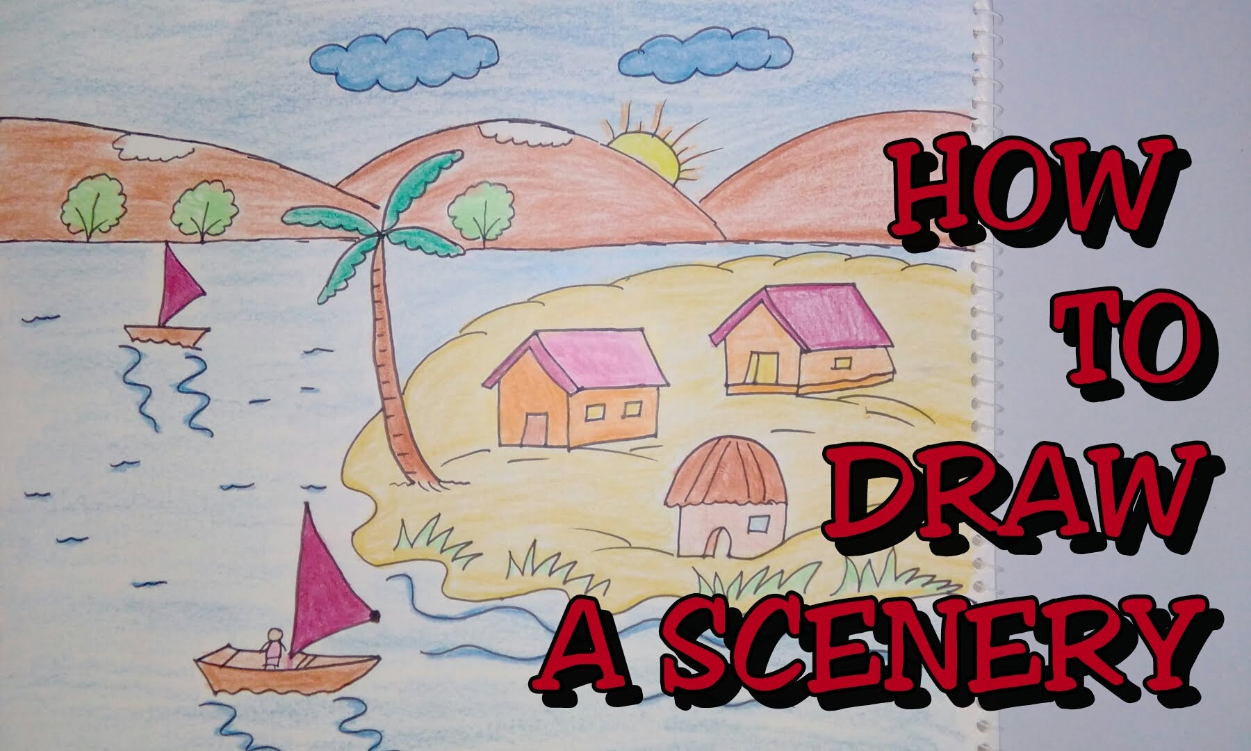 1800x1080 Drawing Tutorial How To Draw Scenery Step By Step Drawing