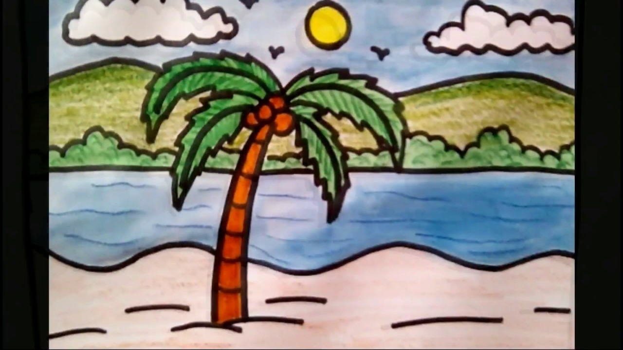 1280x720 How To Draw Coconut Tree Beach Scenery Drawing For Kids