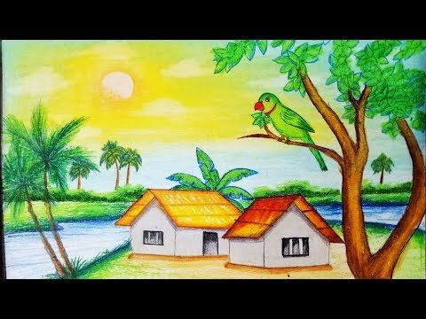 480x360 how to draw scenery of bullock cart with oil pastel step by step