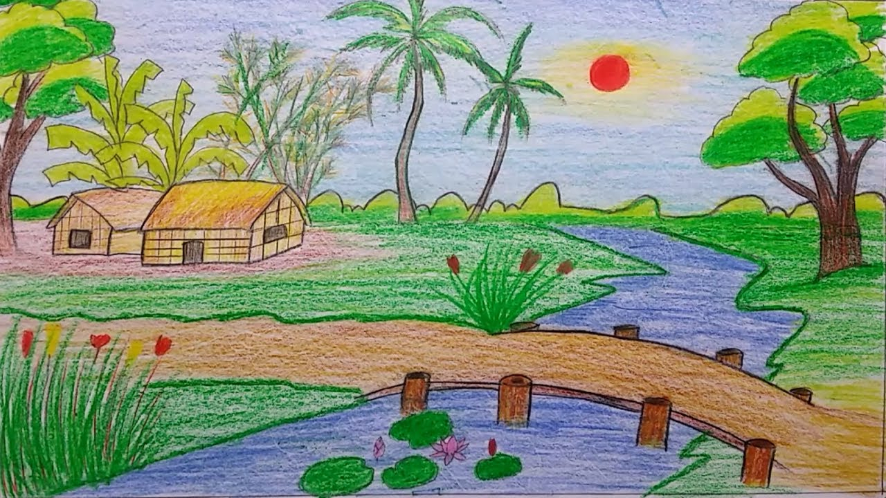 1280x720 Natural Scenery Drawing For Kids Natural Scenery Drawing For Kids