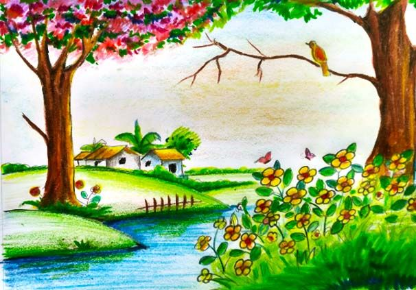 606x423 Pin By Drawing Ka Fanda On Scenery Drawing For Kids