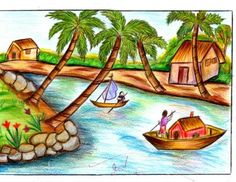 236x182 Village Nature Scenery Drawing Easy Tutorial For Kids