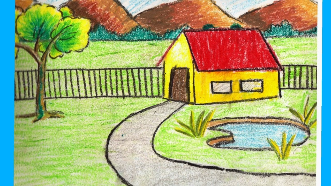 1280x720 Village Scenery Drawing For Kids Class 12 Scenery Drawing How