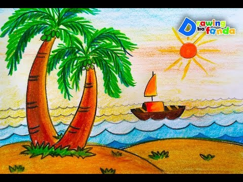 480x360 How To Draw Sea Easily Scenery For Kidsvery Easystep By Step