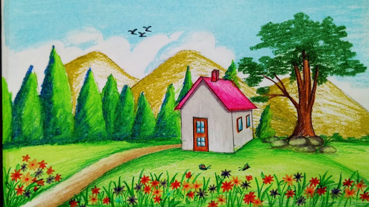 1280x720 How to draw Spring season scenery with oil pastel.Step by step