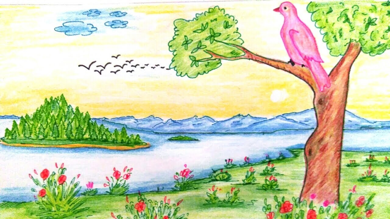 1280x720 Nature Drawing Images Nature Drawing Natural Scenery Drawing