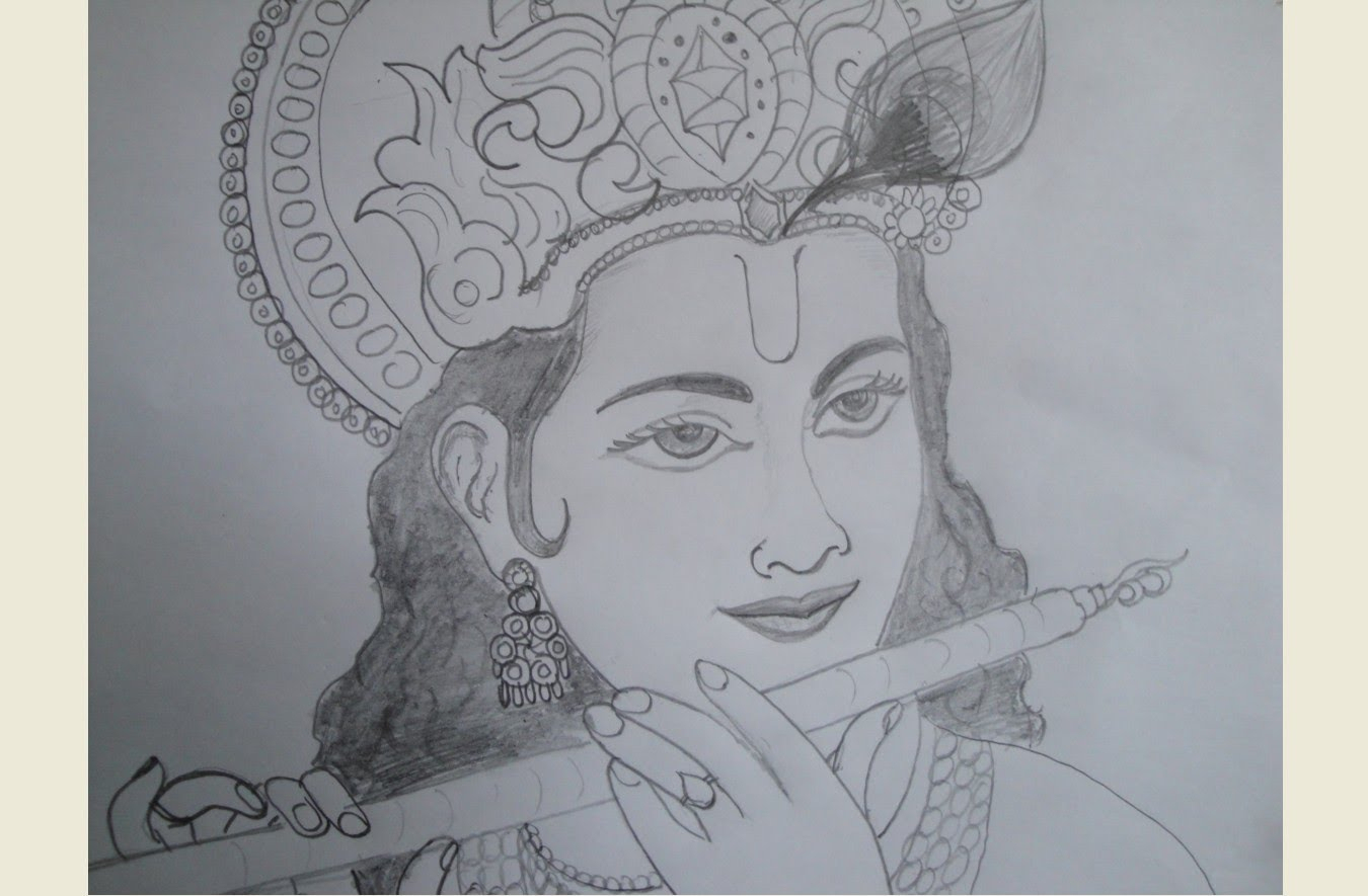 1350x885 Drawing For Scenery Pencil Sketch Of Krishna Simple Pencil