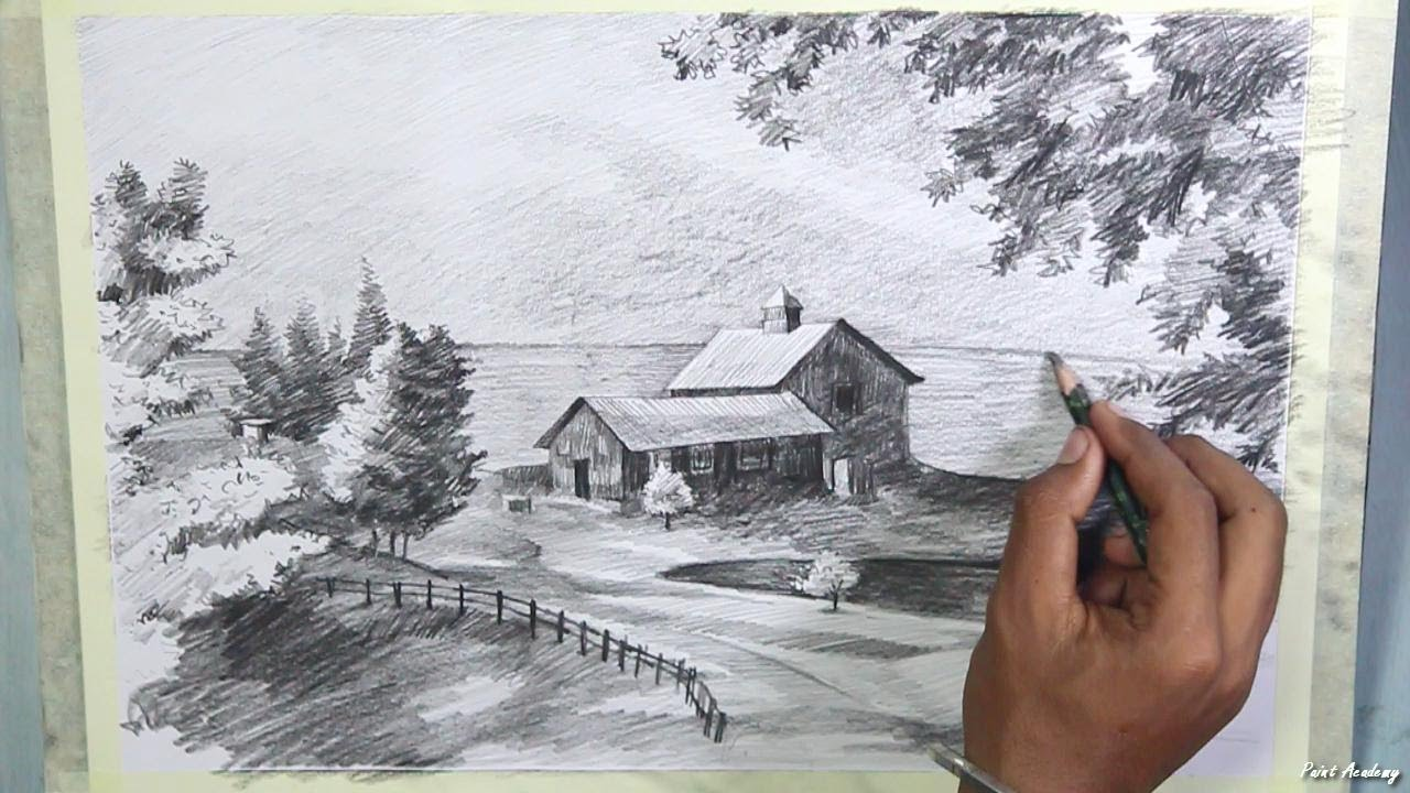 how to draw a beautiful scenery with pencil