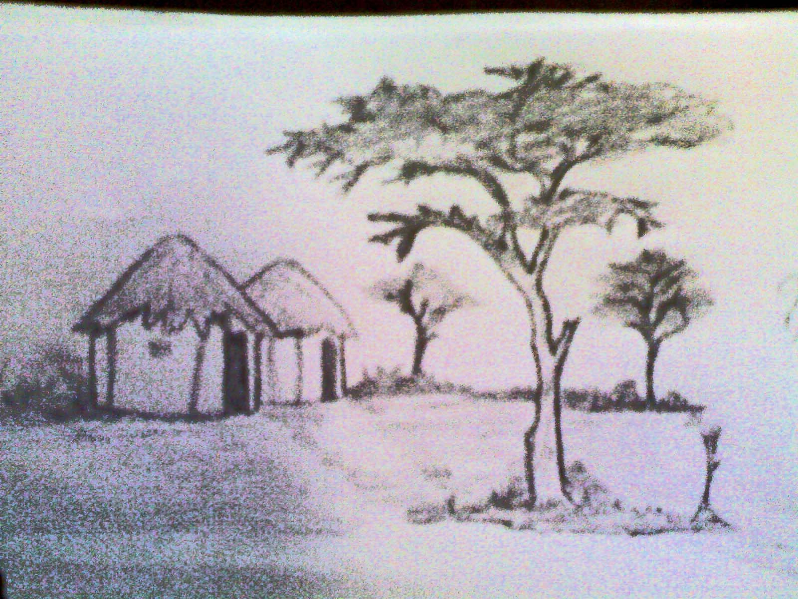 1600x1200 indian scenery drawing village scenery pencil drawing pencil