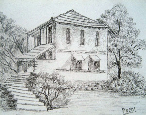 600x474 Pictures Mountain And Home Scenery Pencil Sketch,