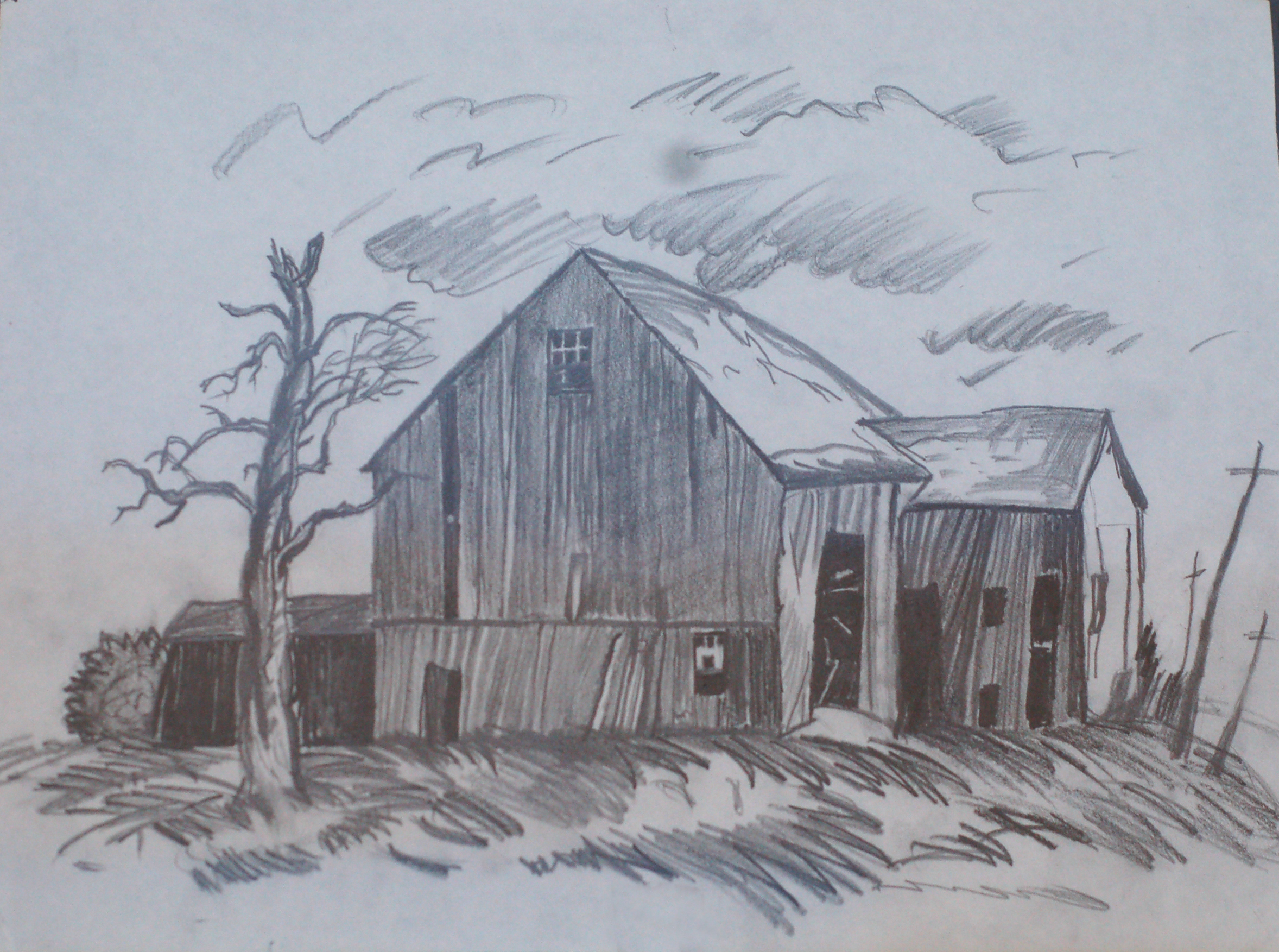 Scenery pencil drawing at free for for Simple paintings to draw