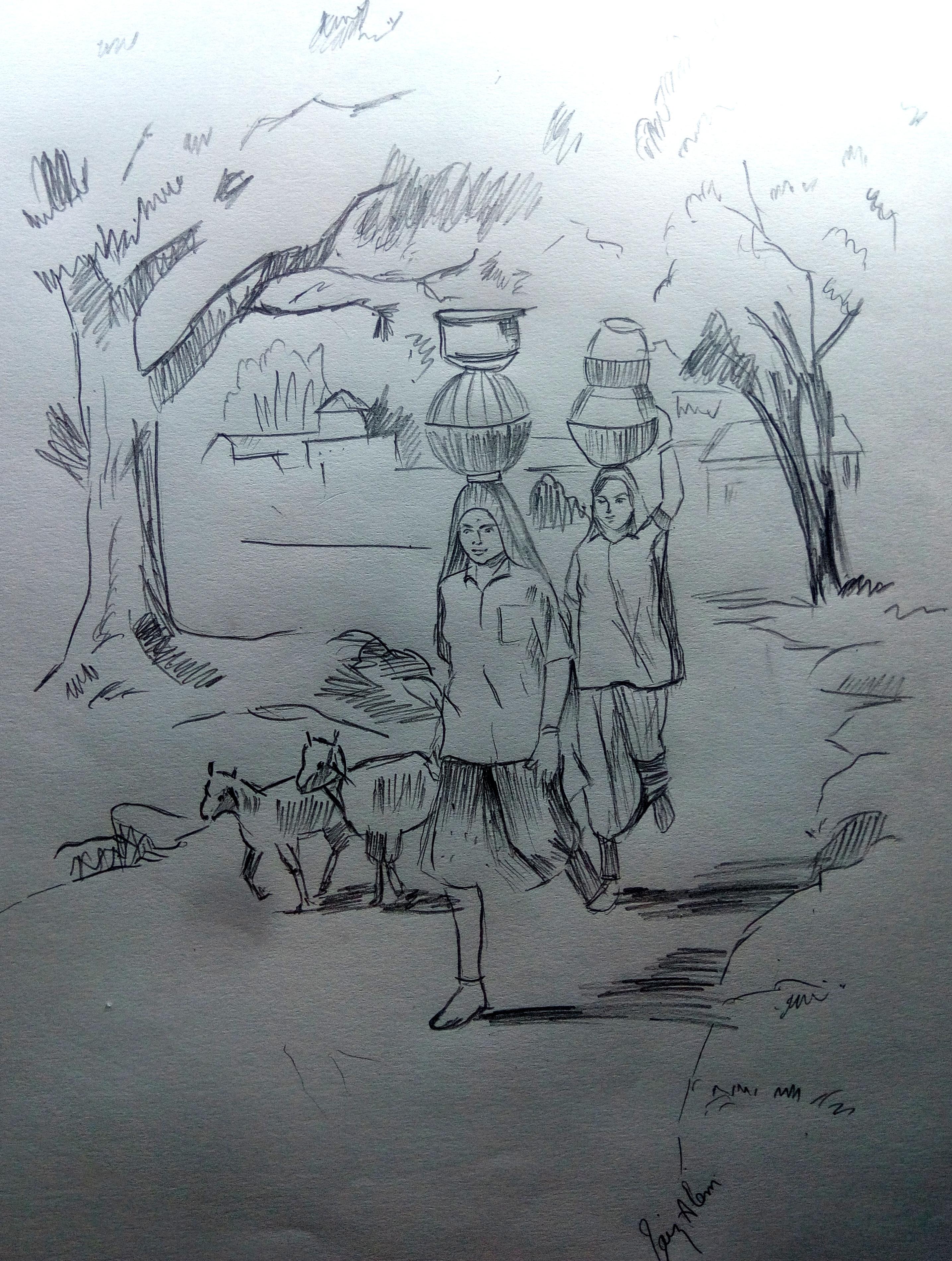 2870x3801 Pencil Sketch Of A Scenery Pencil Shades