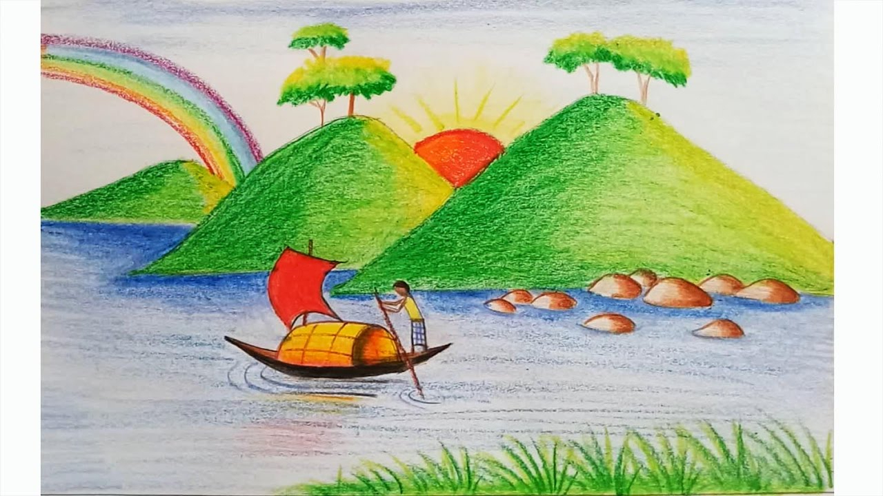 1280x720 Easy Scenery Drawing For Kids Pictures Scenery Drawing Easy