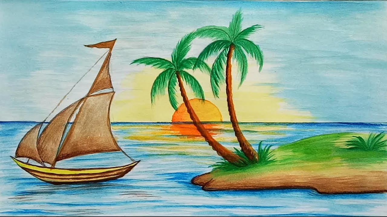 1280x720 How to draw scenery of Island with water colour step by step