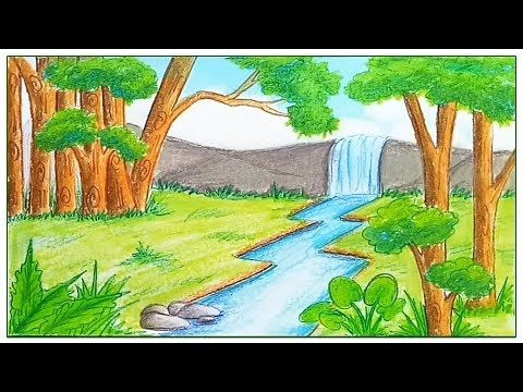 480x360 How to draw scenery of rainforest step by step