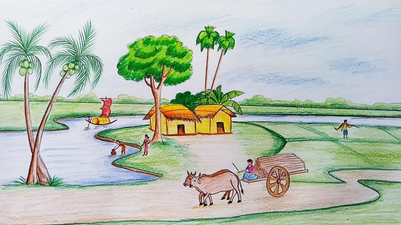1280x720 How To Draw Scenery Of Rural Life