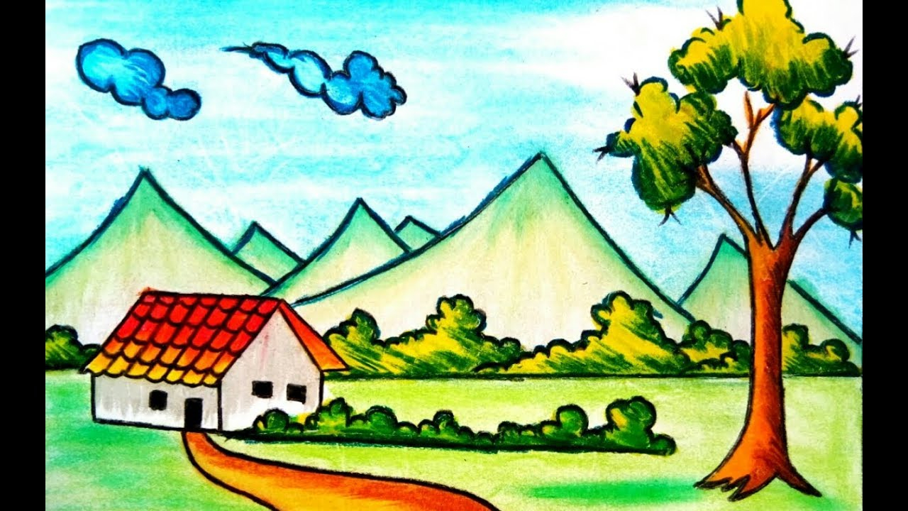 1280x720 Kids Drawing Of Nature Scenery How To Draw Village Scenery Drawing