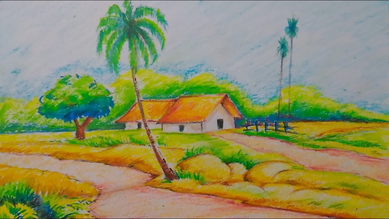 1280x720 Natural Sceneries Drawing Village Nature Scenery Drawingeasy