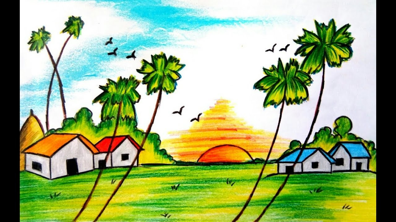 1280x720 Nature Scenery Drawing How To Draw A Beautiful Village Scenery Of