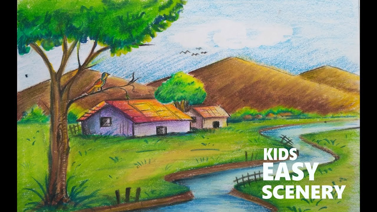 1280x720 Picture Of Scenery For Kids Drawing Natural Scenery Drawing For