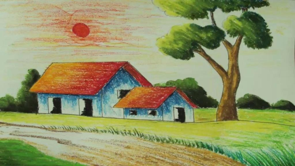 1024x576 Simple Landscape Drawings Easy Scenery Drawing Pastel Painting How