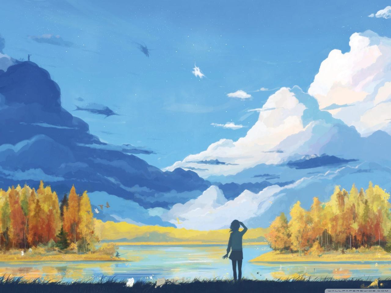 1280x960 Fall Scenery Painting 4k Hd Desktop Wallpaper For 4k Ultra Hd