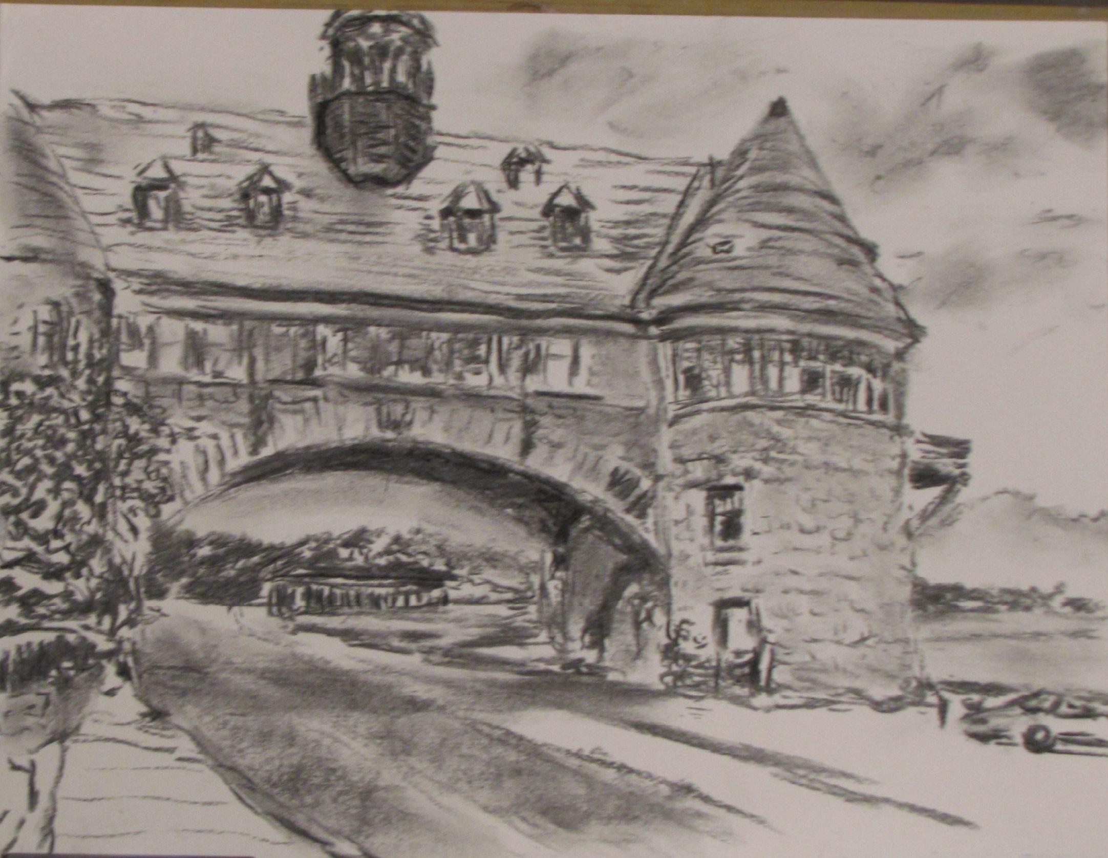 2164x1676 Michael Garr Artwork Towers Of An Evening Original Drawing