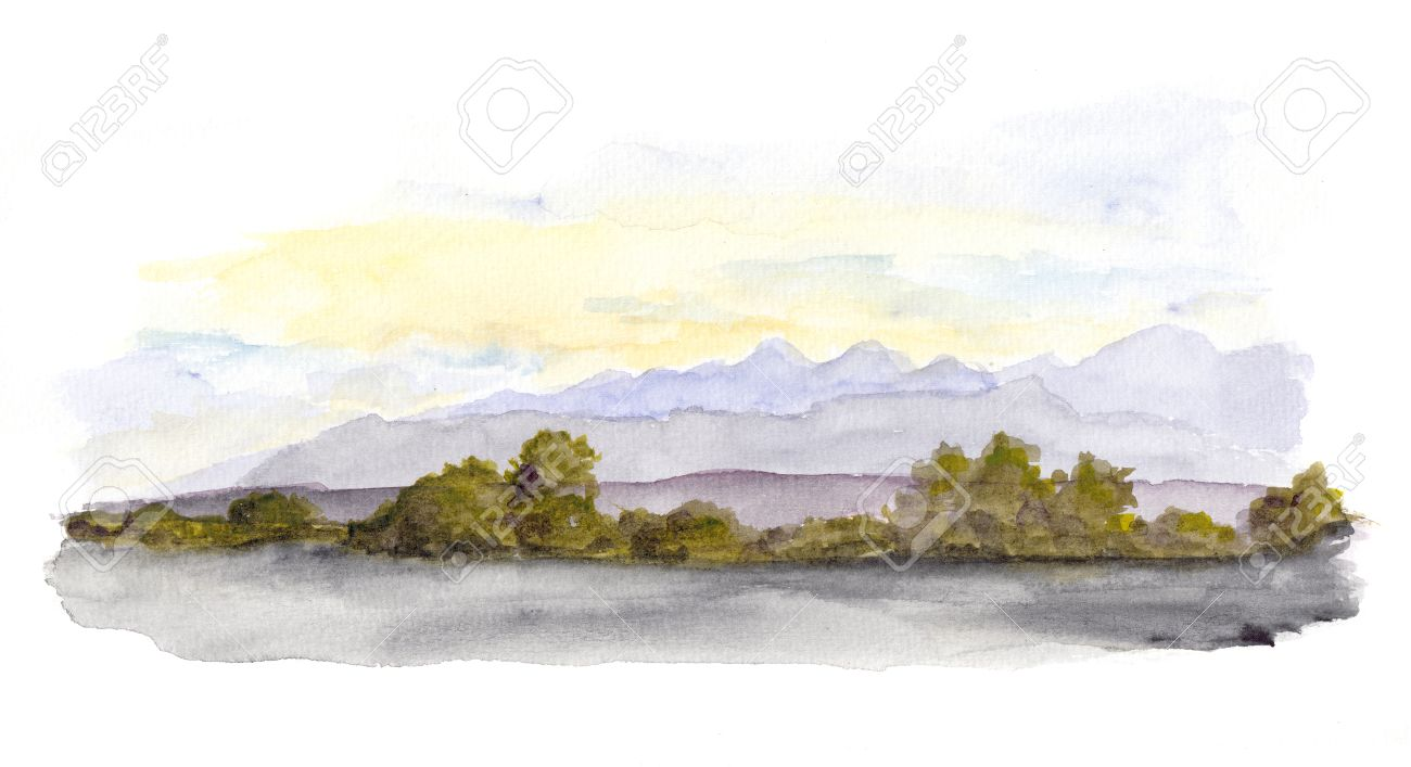 1300x707 Mountains Panorama Scenic View. Watercolor Drawing Landscape Stock