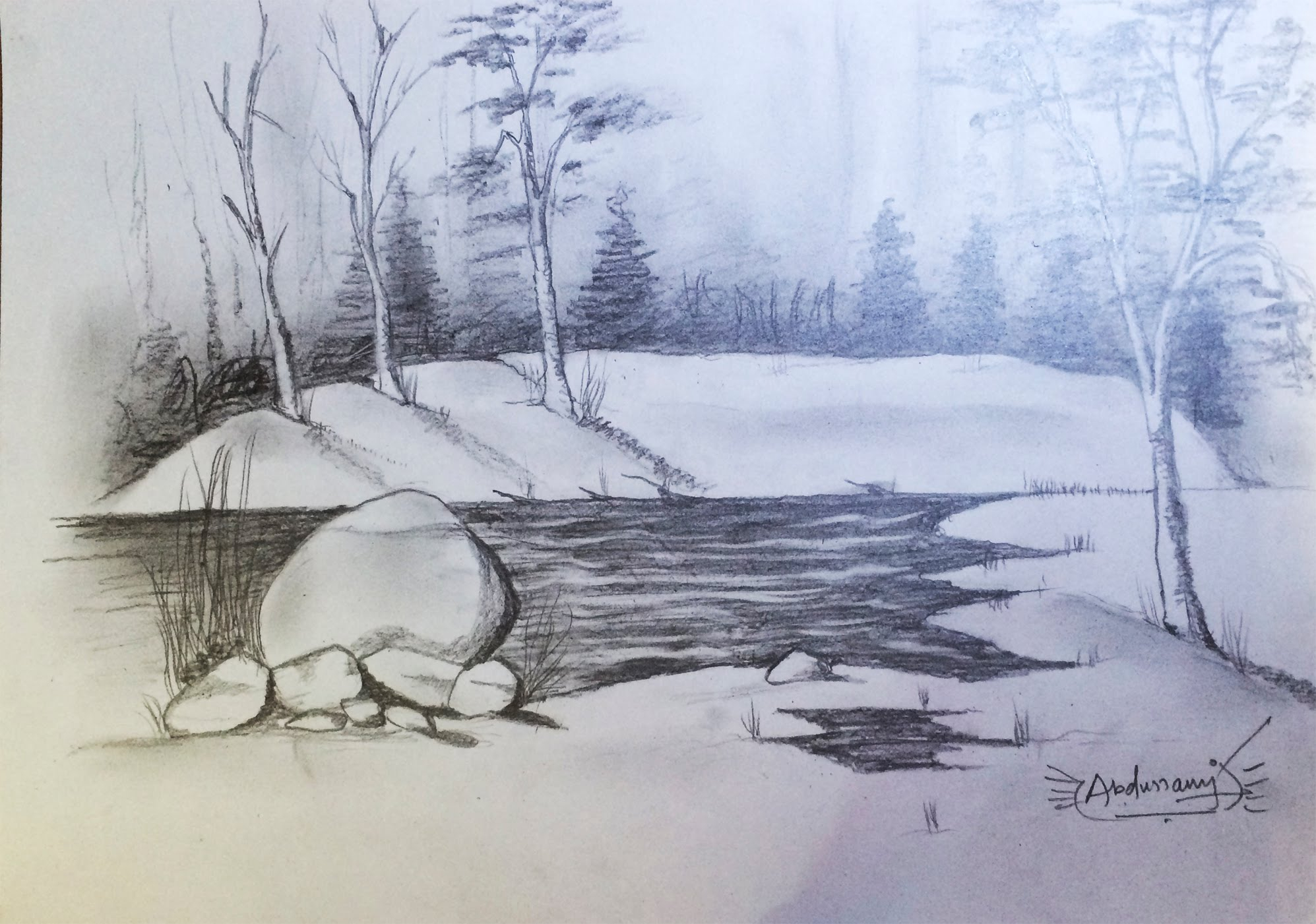 1995x1401 Sketches Of Scenery Drawn Scenic Pencil Sketching