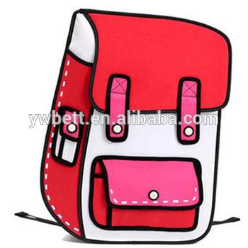 350x350 2d Drawing Cartoon School Bag 3d School Bag Kids Backpack
