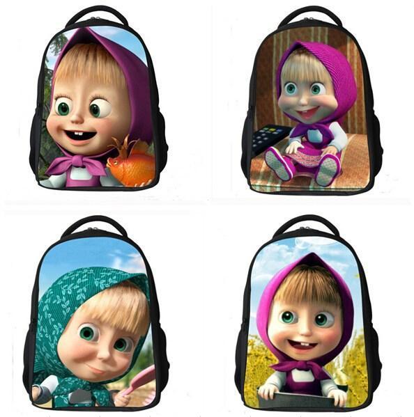 594x599 Hot Fashion Children Cartoon School Bag Masha And Bear Russian