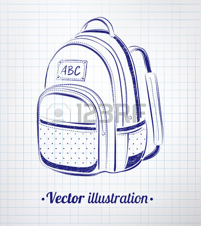 400x450 Vector Color Chalk Drawing Of School Bag. Royalty Free Cliparts