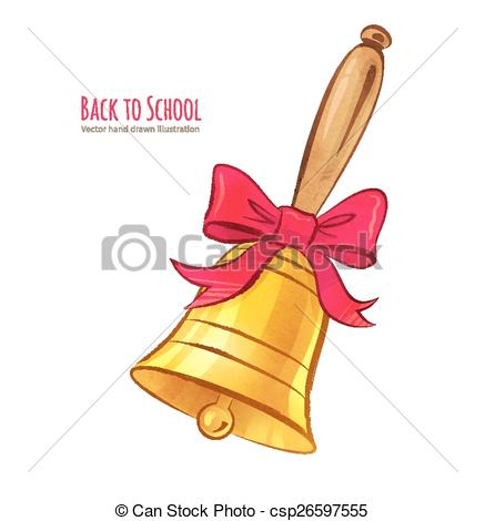437x470 School Bell. Hand Drawn Vector Illustration. Isolated. Clipart