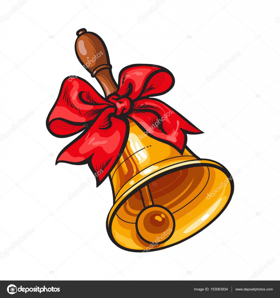 963x1024 Traditional Golden School Bell With Red Ribbon Bow Stock Vector